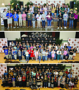Edinburg CISD science fair winners pictured with their trophies during the closing ceremonies of the awards presentations. Pictured top to bottom: 2020 Edinburg CISD Middle School Science Fair Winners (grades sixth-eighth) at the Edinburg Activity Center, 2020 Edinburg CISD Elementary School Science Fair Winners Campus Cluster A (grades kinder-fifth) at Canterbury Elementary School, and 2020 Edinburg CISD Elementary School Science Fair Winners Campus Cluster B (grades kinder-fifth) at Canterbury Elementary School.