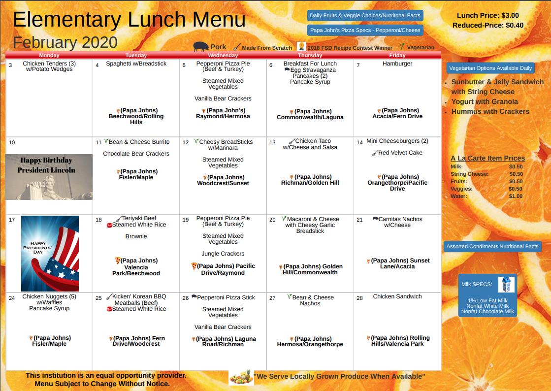 February 2020 Lunch Menu