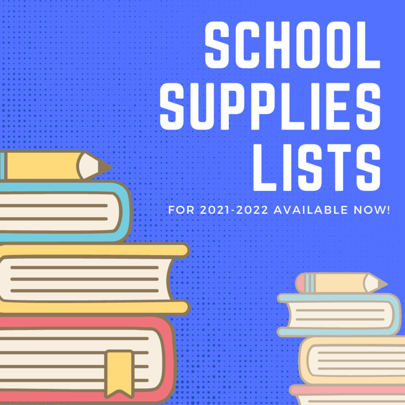 graphic shows stacks of books and pencils with the text school supplies lists for 2021-2022 school year