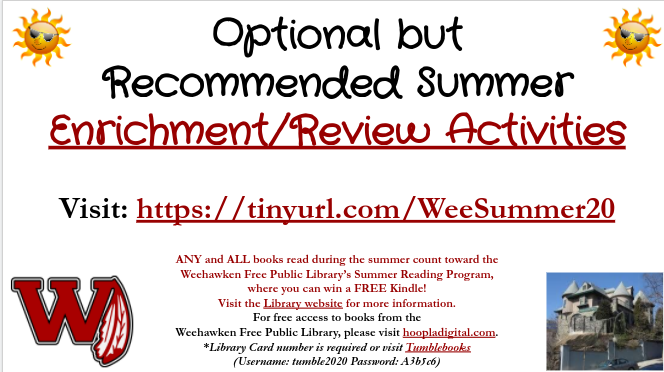 Recommended Summer Activites