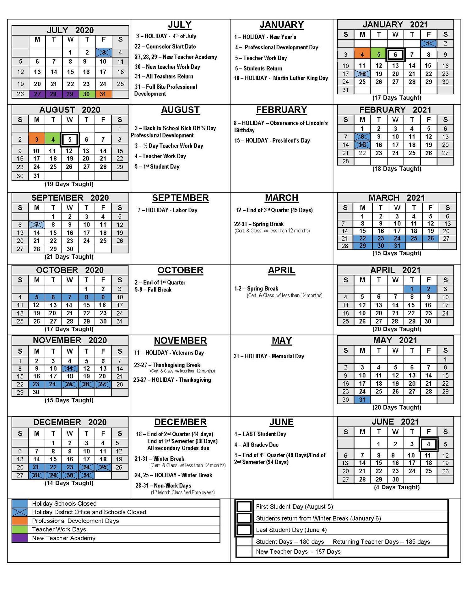 2020-21 Academic School Calendar