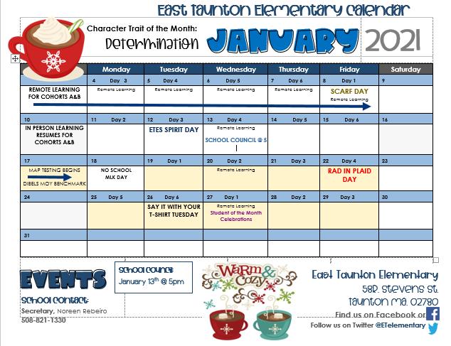 January School Calendar Featured Photo