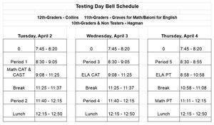 MHS State Testing Schedule April 2019