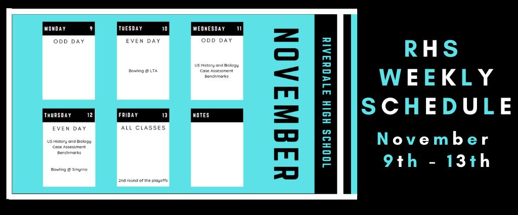 Weekly Schedule 11-9-20