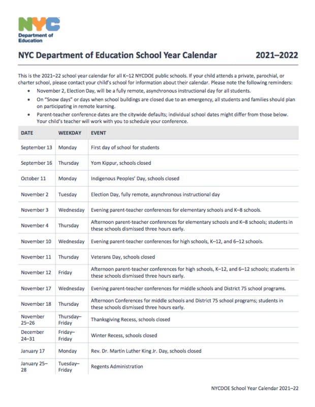 NYC DOE 2021-22 School Year Calendar