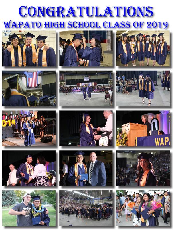 collage of photos from the Wapato High School graduation ceremony