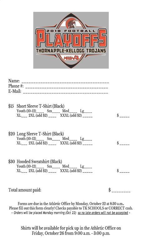 TK football playoff shirt order form.