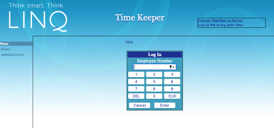 Screenshot of Timekeeper Log-In Landing Page