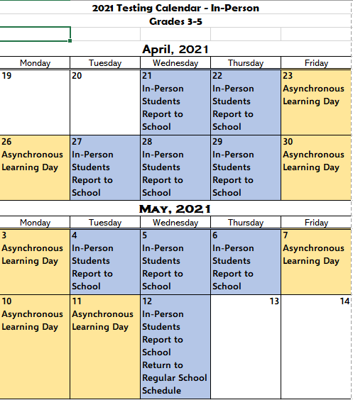 3-5 In-Person Testing Calendar