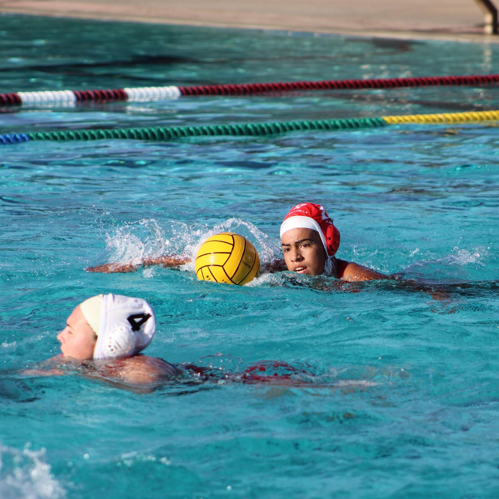 Girls water polo playing