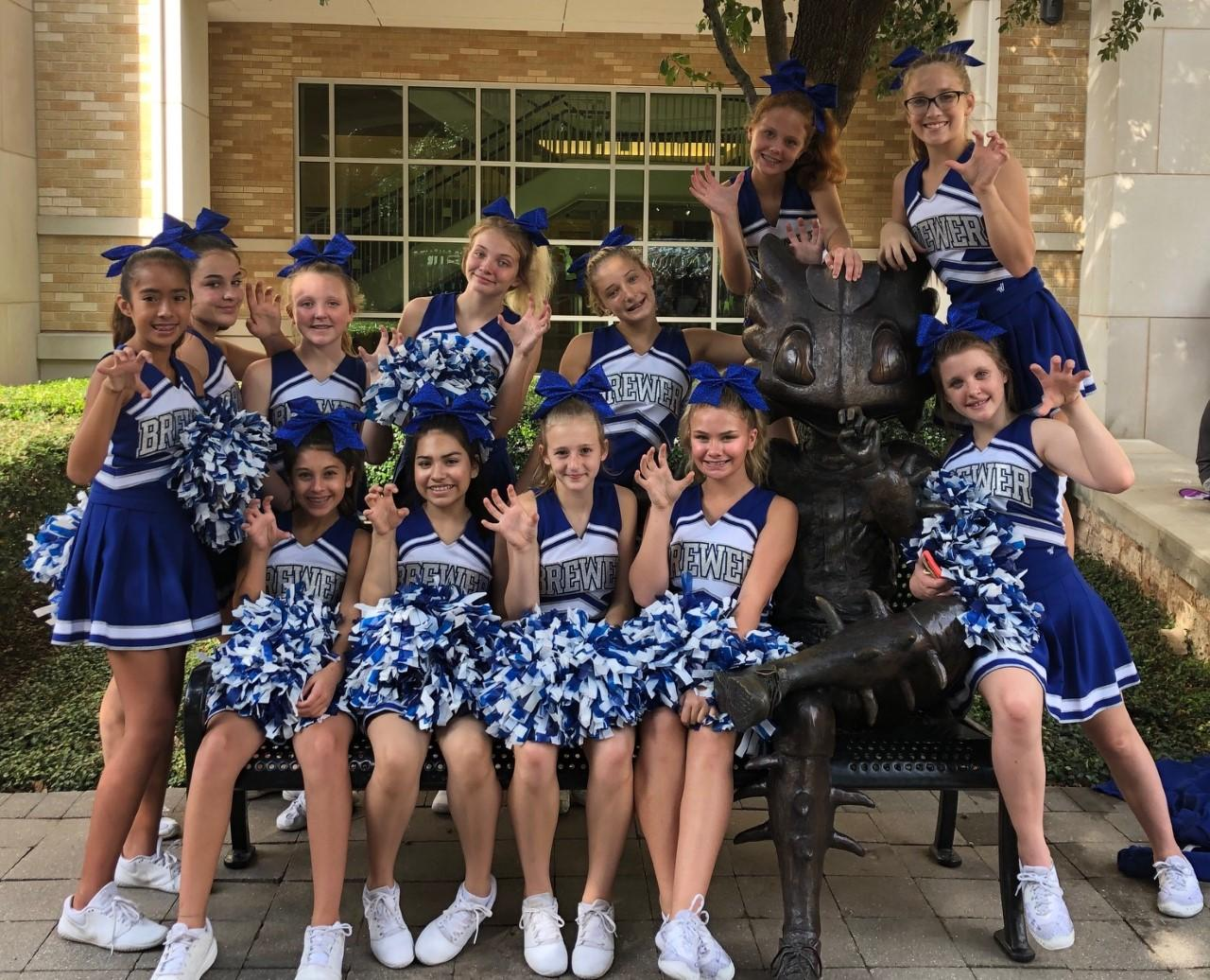 The Brewer Middle School cheerleaders performed during half-time of the TCU football game as part of the TCU Extravaganza yesterday!