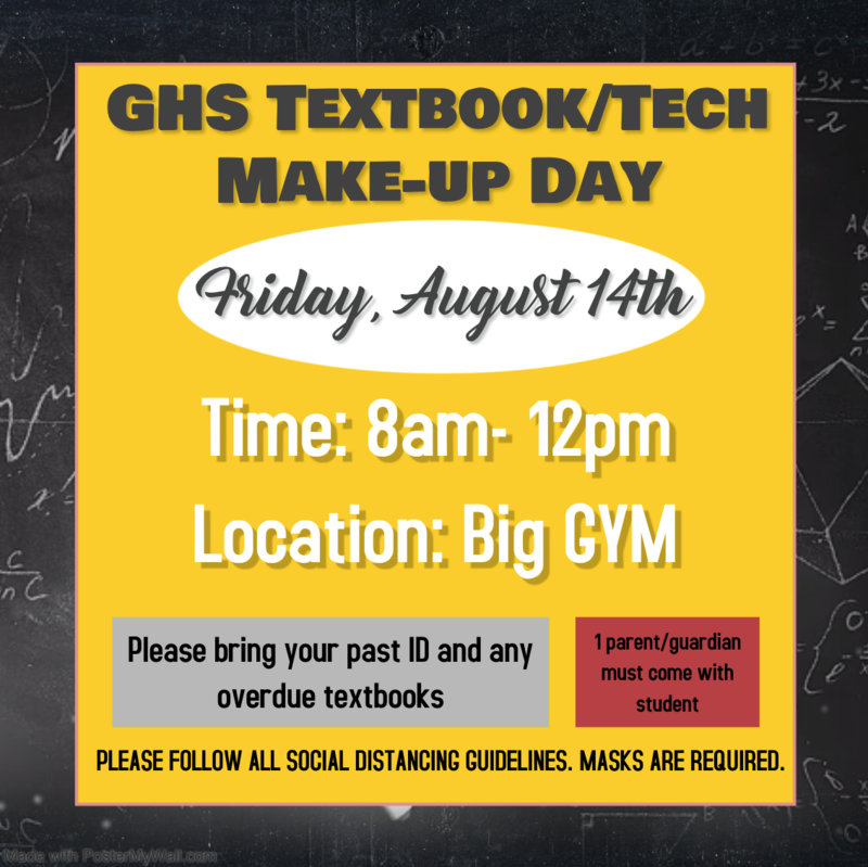 GHS TEXTBOOK/TECH MAKE-UP DAY
