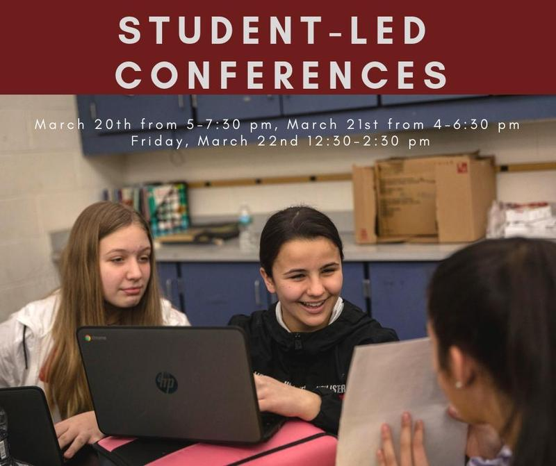 student-led conferences, 3 students working together on project