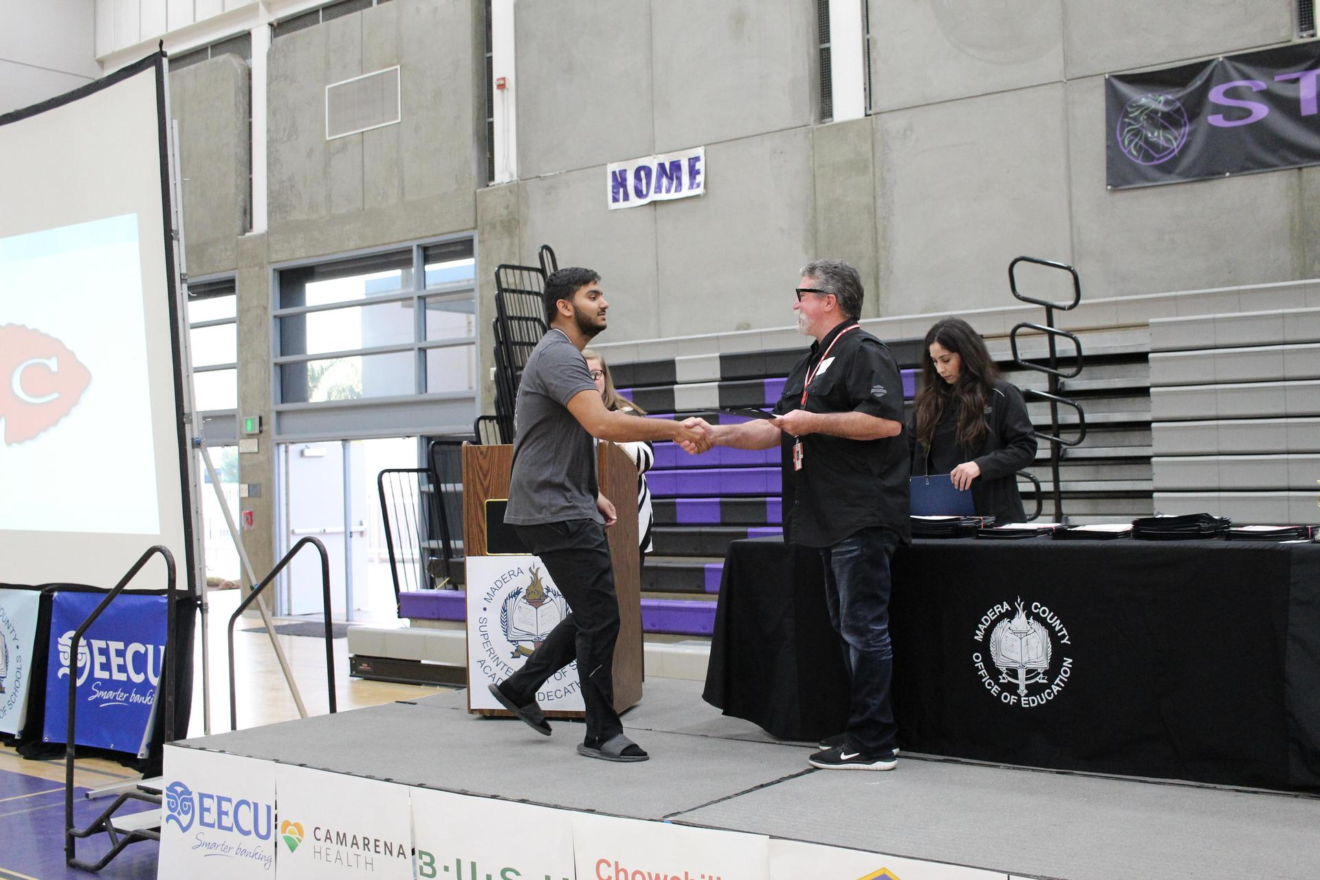 Amit Grewal gets participation award from CUHSD Superintendent Ron Seals