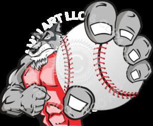 wolf holding baseball