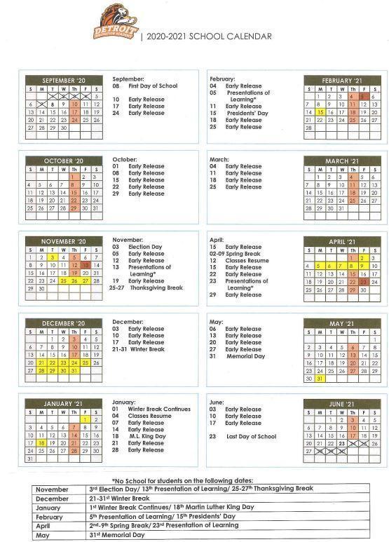 2020-21 DIA School Calendar