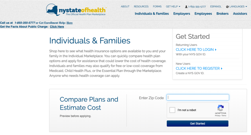 snapshot of NY State of Health webpage
