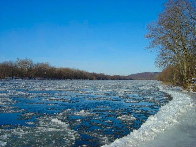 Ice on the Delaware River and along its banks