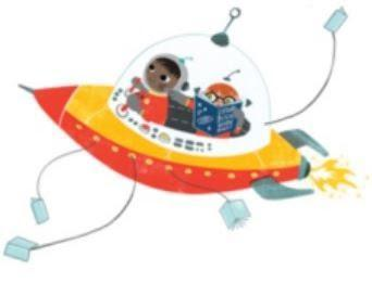 boy on rocket ship reading a book