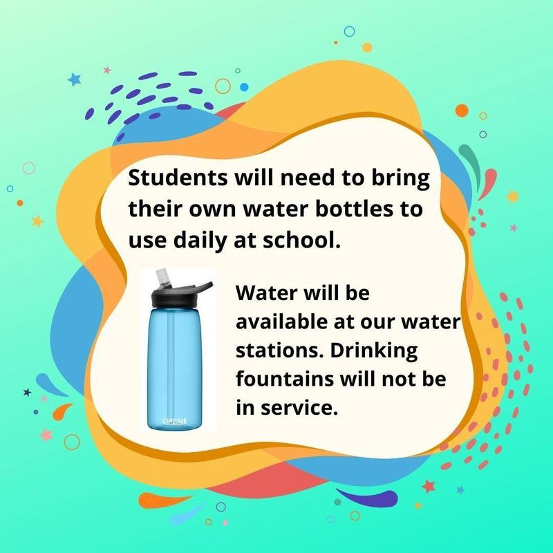 Students need to bring water bottles for daily use at school. Thumbnail Image