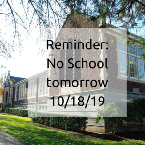 Front of the Central Admin Building (No School tomorrow 10/18/19)
