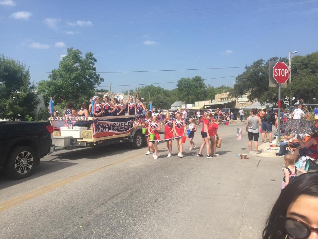 Danforth Junior High School Cheerleaders in 4th of July Parade