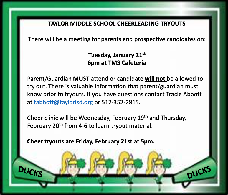 TMS Cheerleading Tryouts Featured Photo