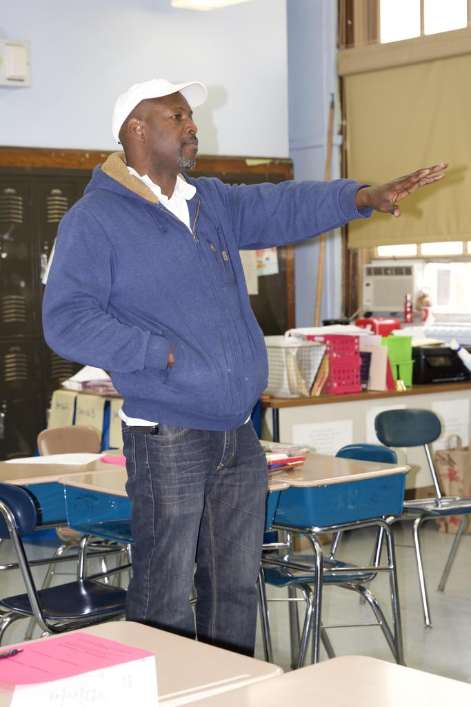 teacher reaching out hand