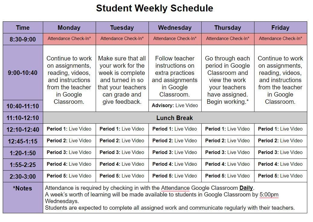 Student Online Schedule