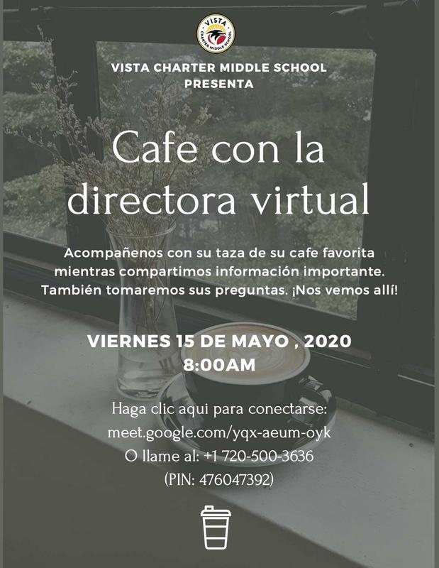 Cafe con la directora virtual flyer