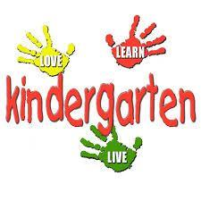 A child's hand prints in green and yellow with the word kindergarten in red