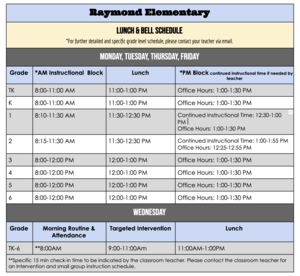 Raymond Distance Learning Bell Schedule Fall 2020