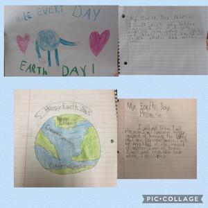 2 Earth drawings and 2 write-ups collage