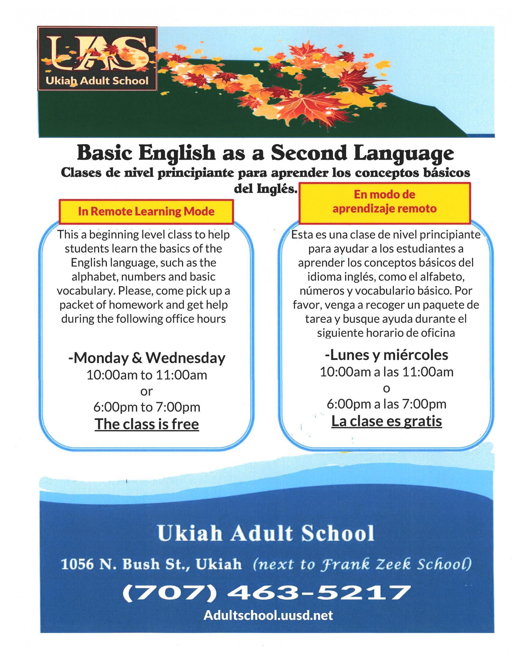 Ukiah Adult School ESL Fall 2020 advertising poster.