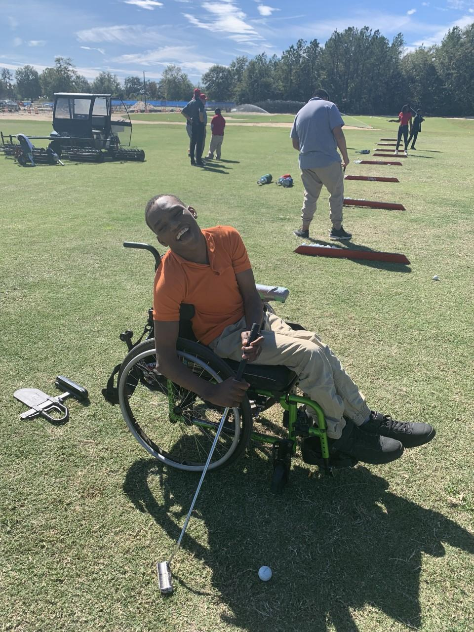 Golf in a wheelchair