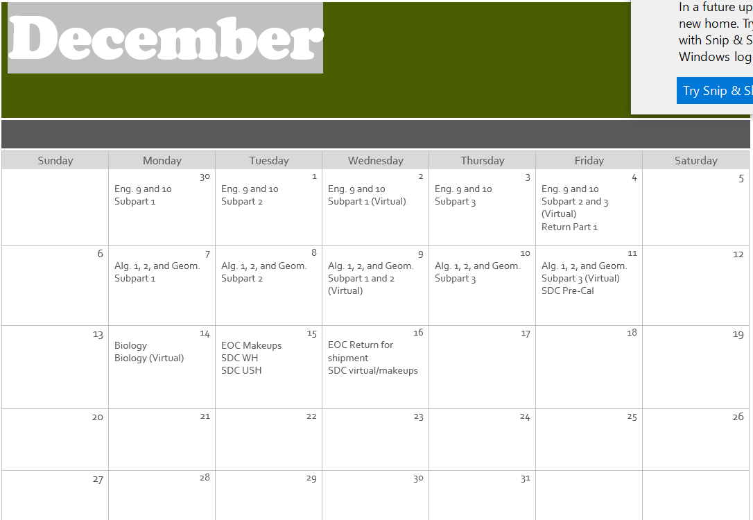 December Testing Calendar