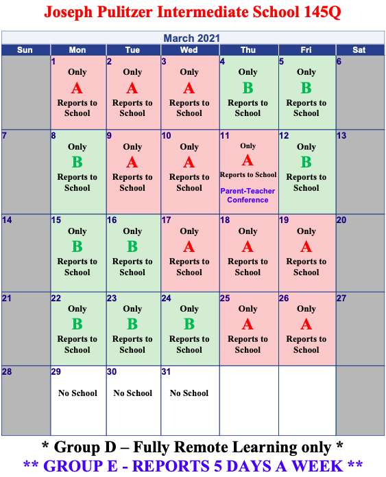March's Monthly Calendar