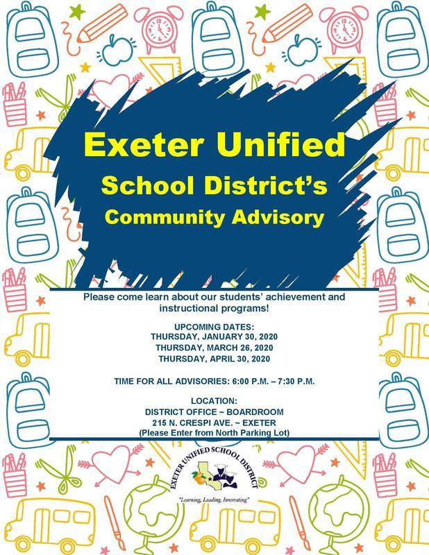 exeter community advisory meeting- upcoming dates- english