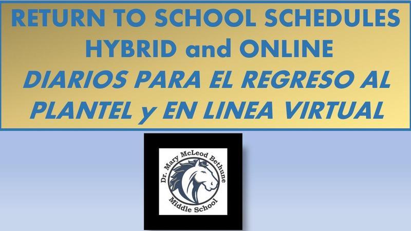 SCHEDULES for HYBRID-ONLINE - DIARIOS para HIBRIDO y VIRTUAL Featured Photo