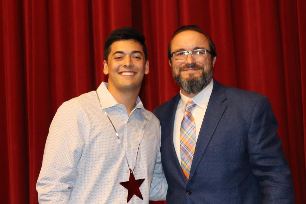 TASSP Teens Serving Texas Award $500 Noah Woods with Jason Valentine, WHS Principal