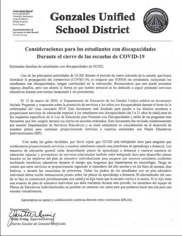 Letter from GUSD (Spanish)