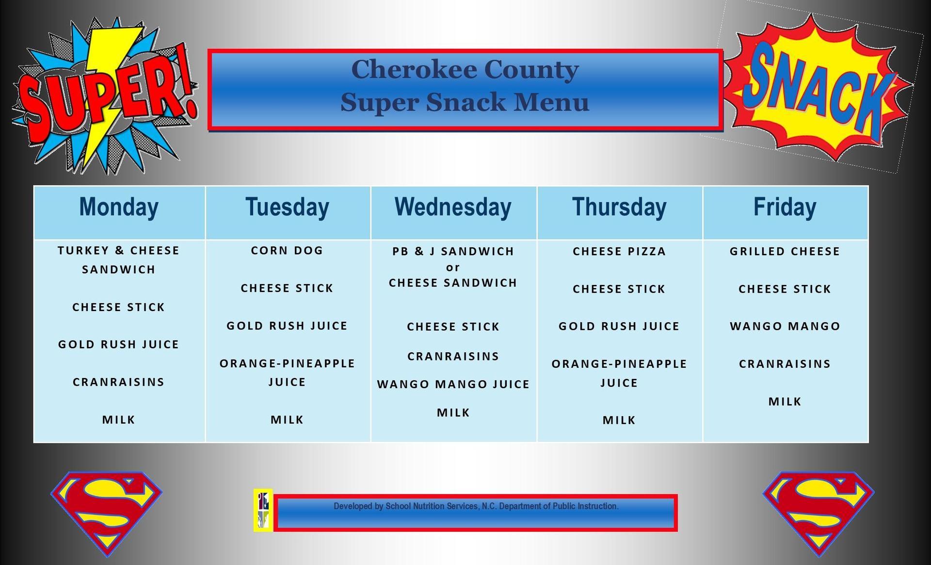 Super Snack Menu August & September