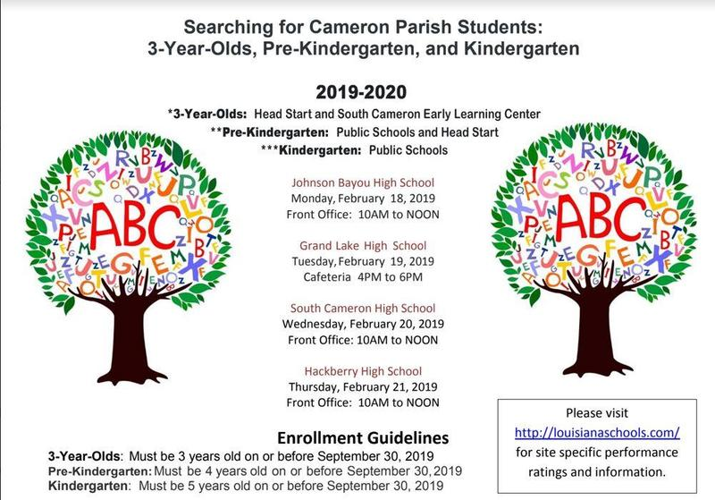 Searching for Cameron Parish 3-year old, Pre-Kindergarten and Kindergarten Students Thumbnail Image