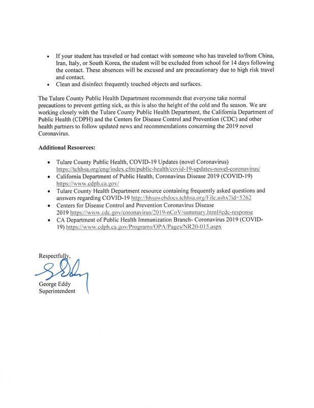 letter from superintendent about coronavirus