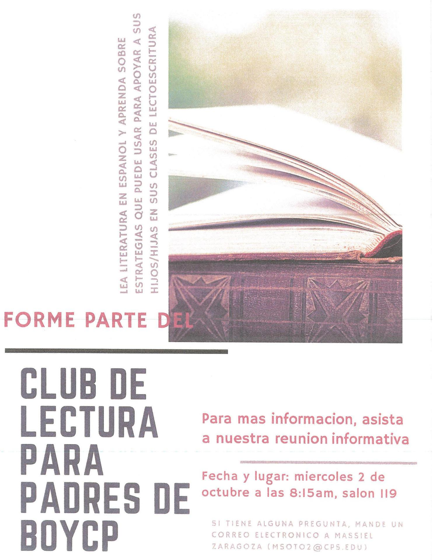 Parent Book Club flyer