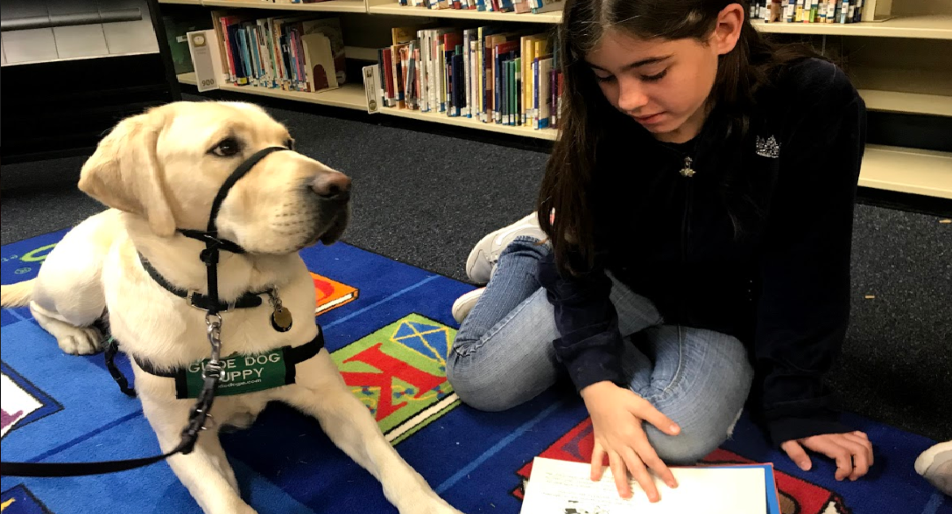 Student Reading with Dog