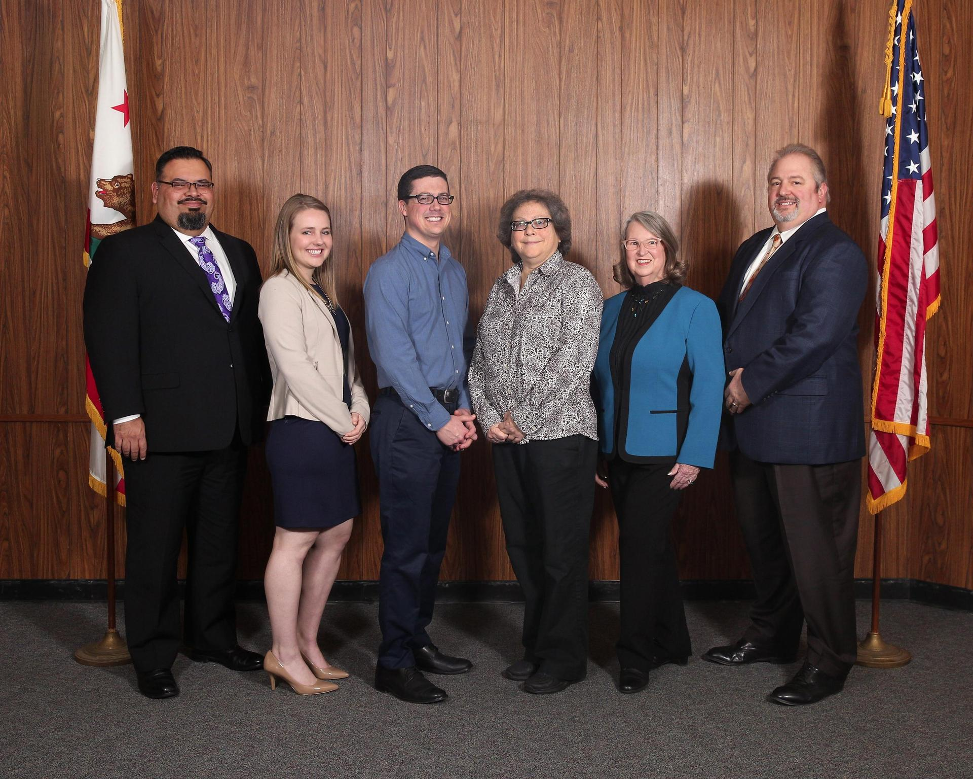 Board of Trustees, pictured with Superintendent Dr. Robert Bravo:  Stacey Brown, Kalen Gallagher, Robert Varich, Kristiina Arrasmith, Linda Goytia