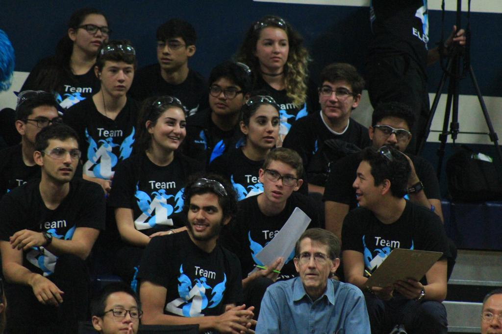 Team in stands