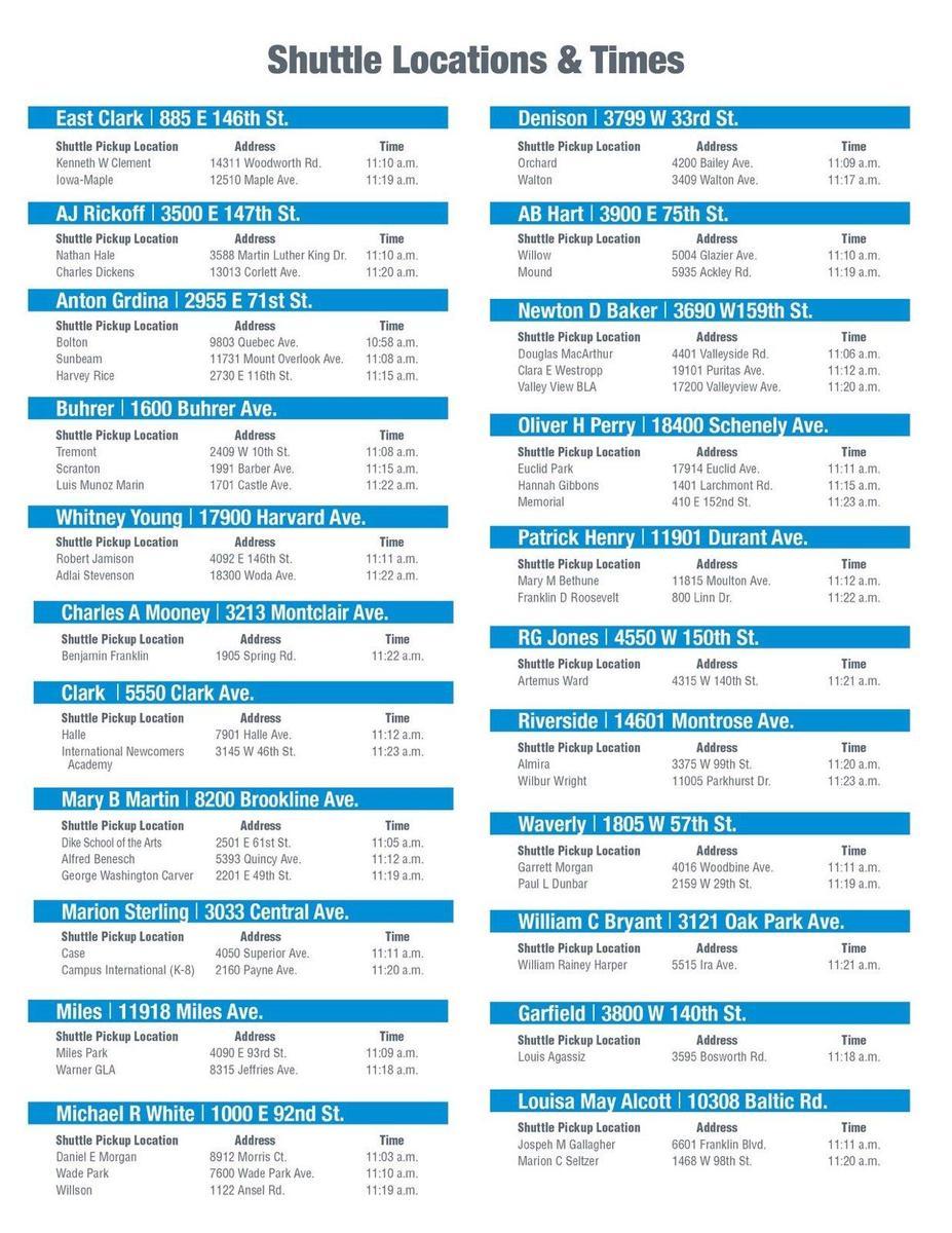 CMSD Shuttle Schedule