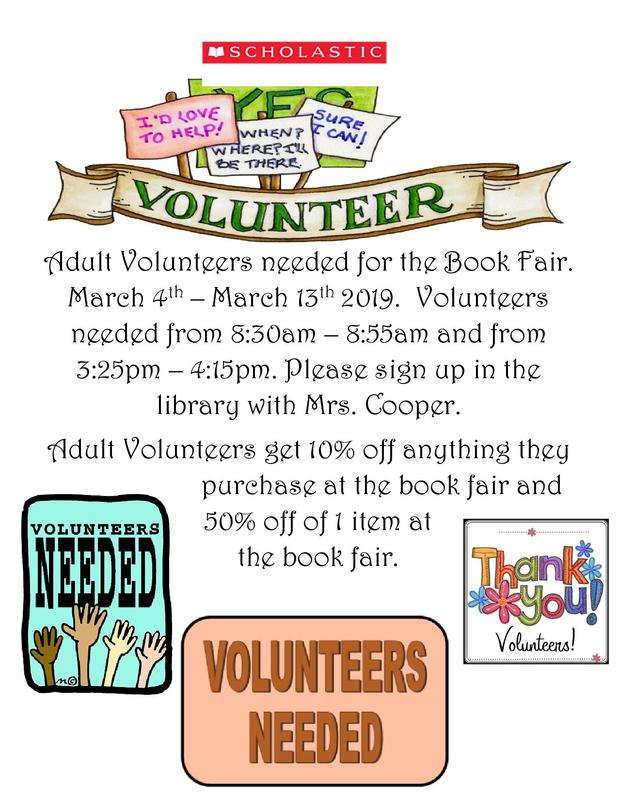 Book Fair Volunteers Needed Thumbnail Image